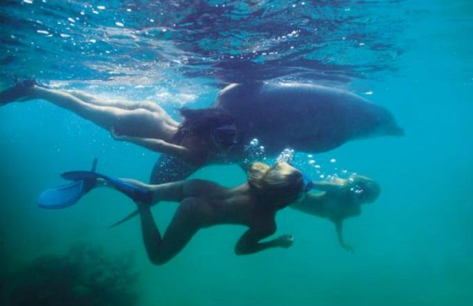 Snorkling Naked Underwater