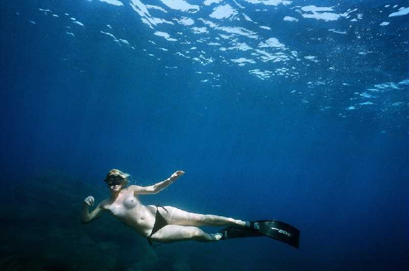 Swimming Topless Underwater